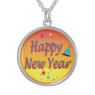 Happy New Year Orange Sterling Silver Necklace