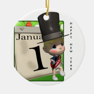 Happy New Year! Double-Sided Ceramic Round Christmas Ornament