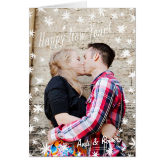 Happy New Year Painted Stars White Folded Card