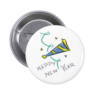 Happy New Year Party Hat Pinback Buttons