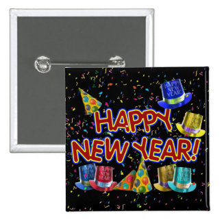 Happy New Year Party Hats 2 Inch Square Button