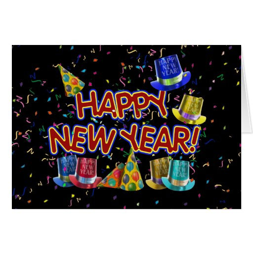 Happy New Year Party Hats Cards