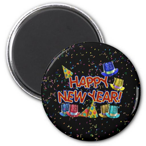 Happy New Year Party Hats Magnets