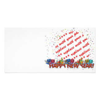 Happy New Year Party Hats Photo Frame Card
