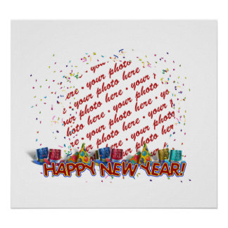 Happy New Year Party Hats Photo Frame Posters