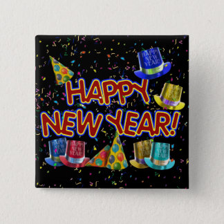 Happy New Year Party Hats Pinback Button