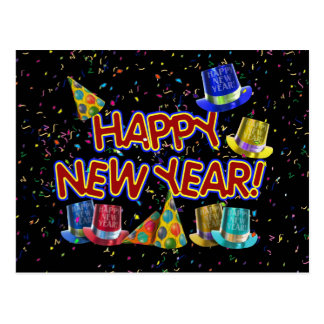 Happy New Year Party Hats Postcard