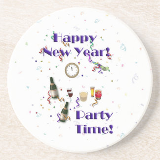 Happy New Year- Party Time! Sandstone Coaster