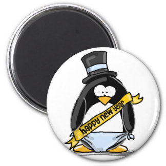 Happy New Year Penguin Refrigerator Magnets