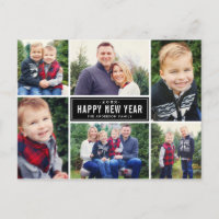 Happy New Year Photo Collage Holiday Postcard