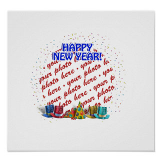 Happy New Year Photo Frame Poster