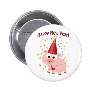 Happy New Year Pig Button