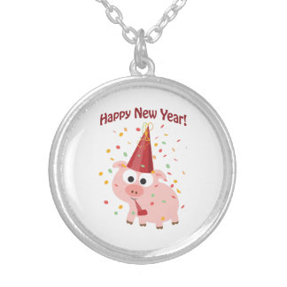 Happy New Year Pig Silver Plated Necklace