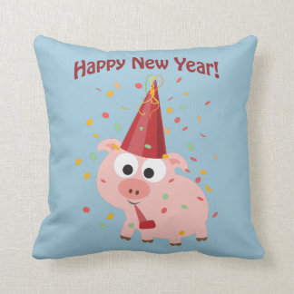 Happy New Year Pig Throw Pillow