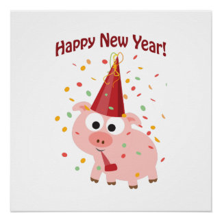 Happy New Year Pig Perfect Poster