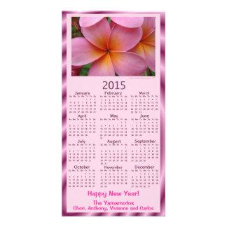 Happy New Year Pink Plumeria 2015 Calendar Card Custom Photo Card