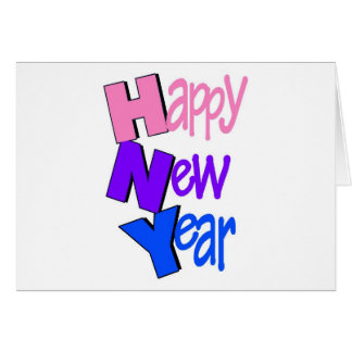 Happy New Year Pink Purple Blue Card