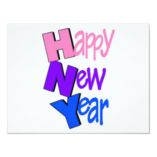 Happy New Year Pink Purple Blue 4.25x5.5 Paper Invitation Card