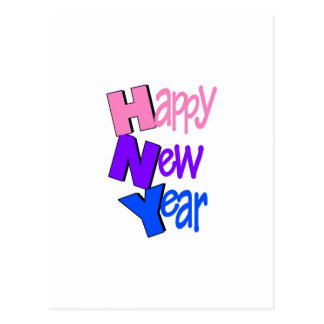 Happy New Year Pink Purple Blue Postcard