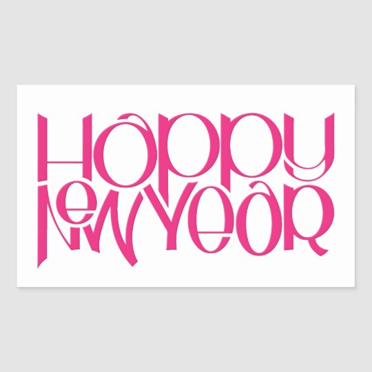 Happy New Year pink Rectangle Sticker