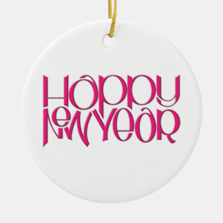 Happy New Year pink Round Ornament