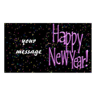 Happy New Year Pink Text Double-Sided Standard Business Cards (Pack Of 100)