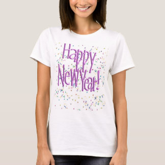 Happy New Year Pink Text T-Shirt
