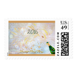 Happy New Year! Postage Stamp with champagne bottl