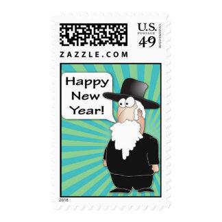 Happy new Year Postage Stamps - Rabbi cartoon
