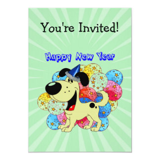 Happy New Year Pup! 5x7 Paper Invitation Card