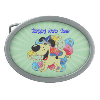 Happy New Year Pup! Belt Buckles