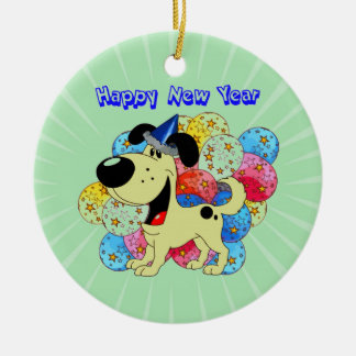 Happy New Year Pup! Christmas Ornament