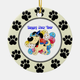 Happy New Year Pup! Double-Sided Ceramic Round Christmas Ornament