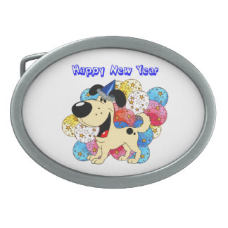 Happy New Year Pup! Oval Belt Buckles
