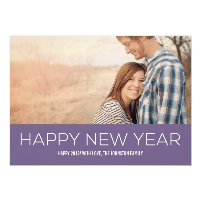 Happy New Year Purple Banner Photo Flat Cards