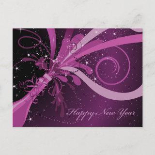 Happy New Year Purple Champagne Postcard