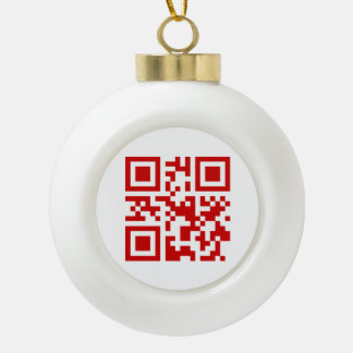 Happy New Year! -- QR Code Ceramic Ball Christmas Ornament