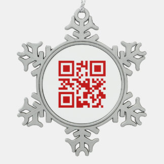 Happy New Year! -- QR Code Snowflake Pewter Christmas Ornament
