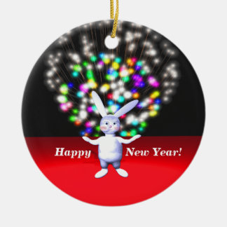 Happy New Year Rabbit and Fireworks Ceramic Ornament