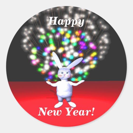 Happy New Year Rabbit and Fireworks Classic Round Sticker