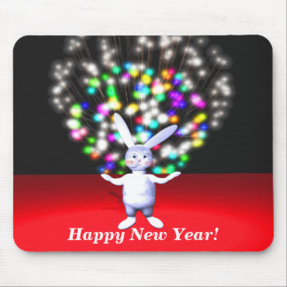 Happy New Year Rabbit and Fireworks Mouse Pad