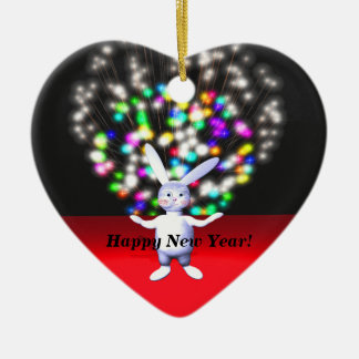 Happy New Year Rabbit and Fireworks Double-Sided Heart Ceramic Christmas Ornament