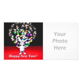 Happy New Year Rabbit and Fireworks Picture Card