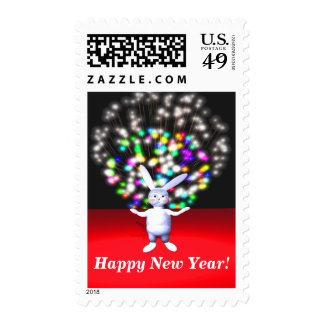 Happy New Year Rabbit and Fireworks Postage Stamps