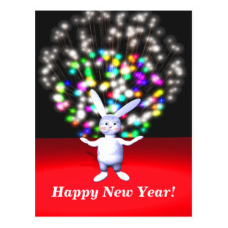 Happy New Year Rabbit and Fireworks Postcard