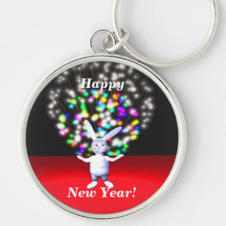 Happy New Year Rabbit and Fireworks Silver-Colored Round Keychain
