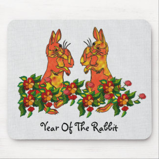Happy New Year Rabbits Mouse Pad