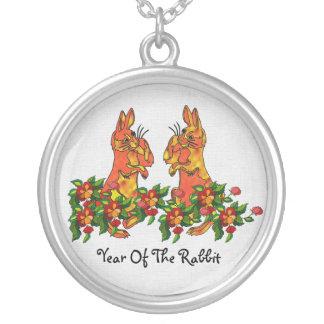Happy New Year Rabbits Round Pendant Necklace