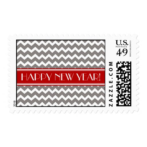 Happy New Year Red Gray Chevron Postage Stamps
