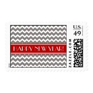 Happy New Year Red Gray Chevron Stamp
